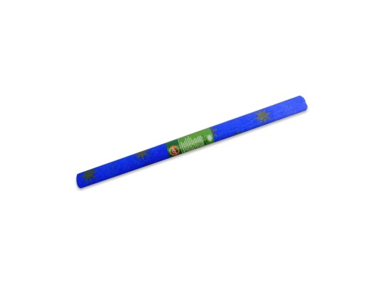 Papír krepový-200x50cm-modrý/hvězdy zlaté