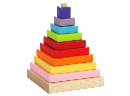 Pyramida barevná dřevěná-Cubika