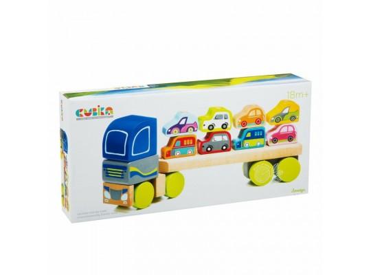 Kamion s auty dřevěný-Cubika