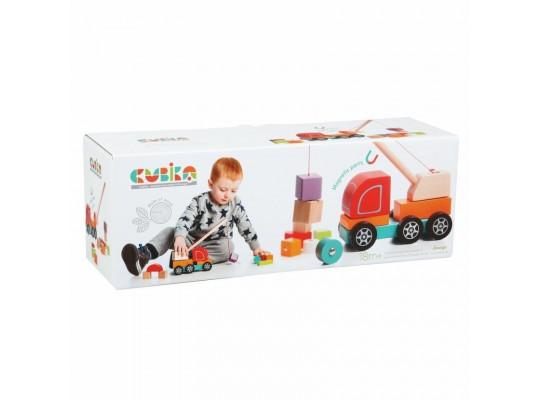 Autojeřáb s magnetem dřevěný-Cubika
