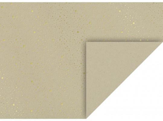 Karton kraftový-50x70cm-hvězdy zlaté-220g/m2