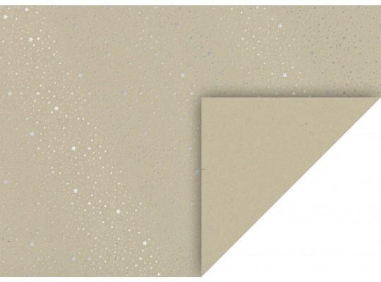 Karton kraftový-50x70cm-hvězdy stříbrné-220g/m2