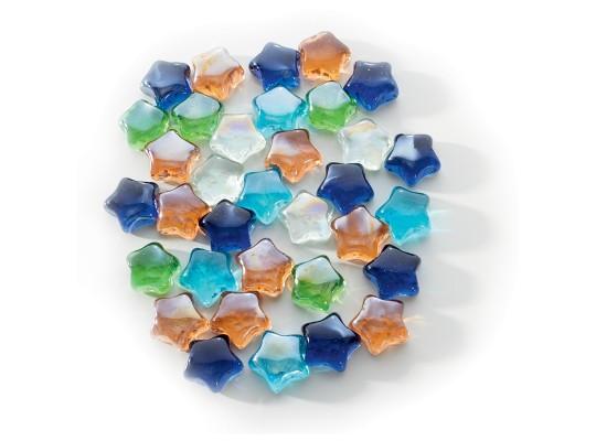 Drahokamy skleněné barevné-hvězdy-pr.3cm