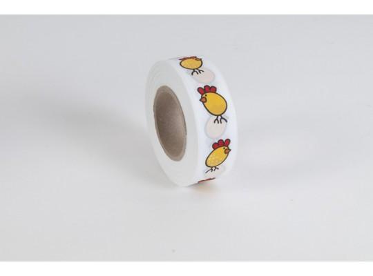 Stuha dekorační taftová-bílá-potisk-kuře žluté