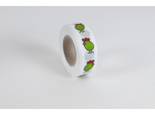 Stuha dekorační taftová-bílá-potisk-kuře zelené