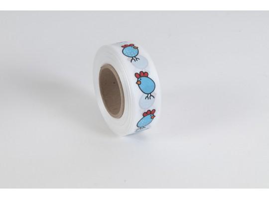 Stuha dekorační taftová-bílá-potisk-kuře modré