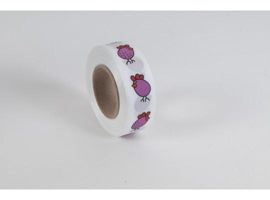 Stuha dekorační taftová-bílá-potisk-kuře růžové