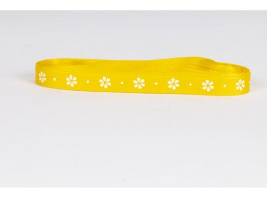 Stuha dekorační taftová-žlutá-potisk-kytička bílá