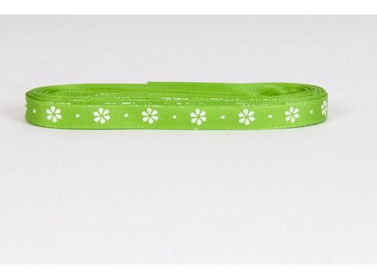 Stuha dekorační taftová-zelená-potisk-kytička bílá