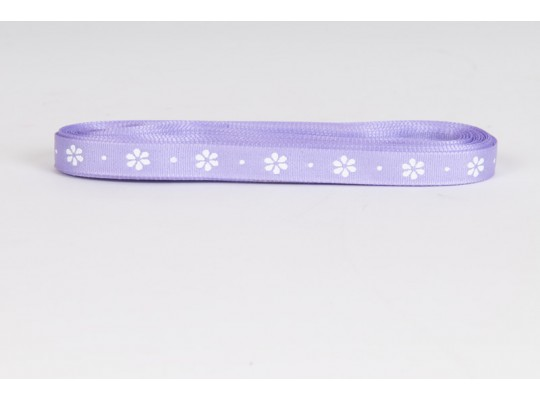 Stuha dekorační taftová-fialová-potisk-kytička bílá