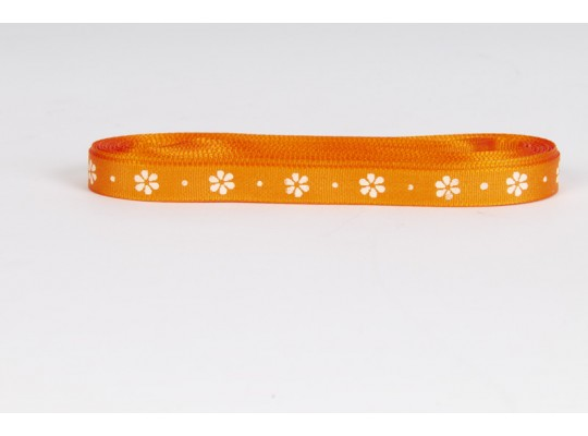 Stuha dekorační taftová-oranžová-potisk-kytička bílá