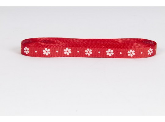 Stuha dekorační taftová-červená-potisk-kytička bílá