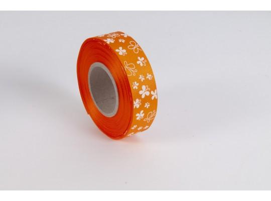 Stuha dekorační rypsová-oranžová-potisk-motýl bílý