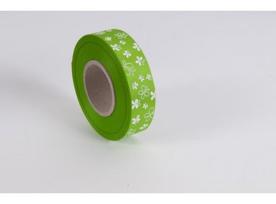 Stuha dekorační rypsová-zelená-potisk-motýl bílý