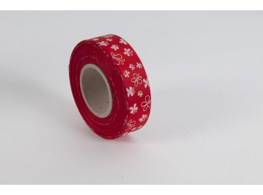 Stuha dekorační rypsová-červená-potisk-motýl bílý