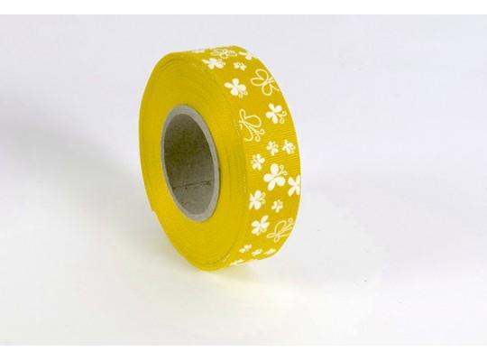 Stuha dekorační rypsová-žlutá-potisk-motýl bílý