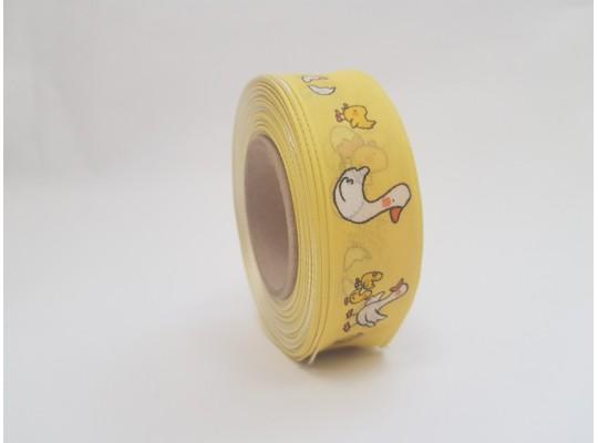 Stuha dekorační adjustační-žlutá-drát-potisk-husa bílá