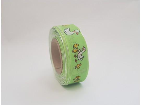 Stuha dekorační adjustační-zelená-drát-potisk-husa bílá