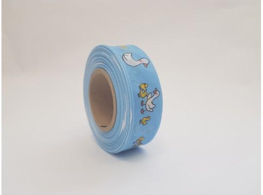 Stuha dekorační adjustační-modrá-drát-potisk-husa bílá