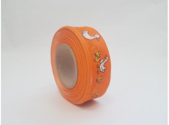 Stuha dekorační adjustační-oranžová-drát-potisk-husa bílá