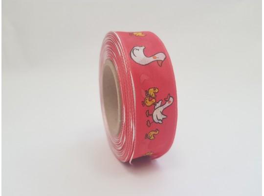 Stuha dekorační adjustační-červená-drát-potisk-husa bílá