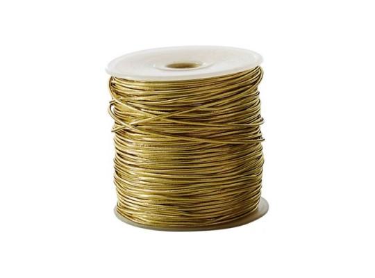 Guma pruženka-kulatá-klobouková-zlatá-2mm