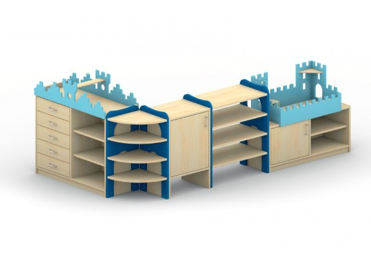 Sestava hrací-Hrad dřevěný-rytíř-barevný-dekor buk