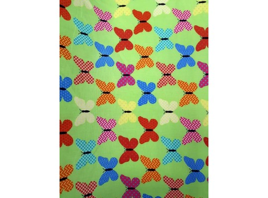 Látka bavlna-potisk-motýl-zelená