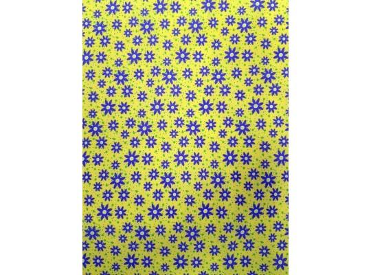 Látka bavlna-potisk-kytička-fialová/žlutá
