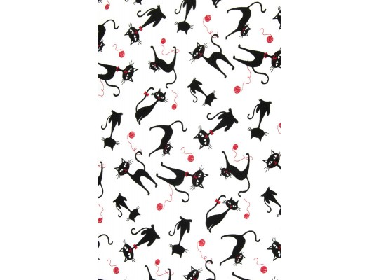 Látka dekorační-bavlna-š.150x100cm-potisk-kočka-černá-červená/bílá