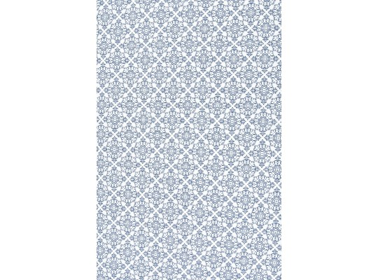 Látka bavlna-potisk-ornament-bílá/modrá tmavá
