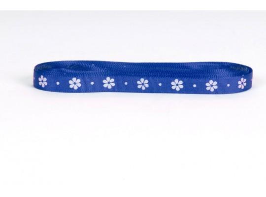 Stuha dekorační-taftová-modrá tmavá-potisk-kytička bílá