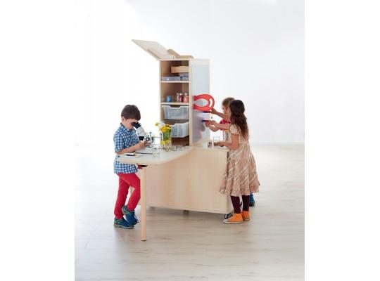 Laboratoř experimentální-pro děti-vysoká-1 stůl-dekor bříza