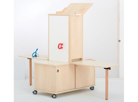 Laboratoř experimentální-pro děti-vysoká-2 stoly-dekor bříza