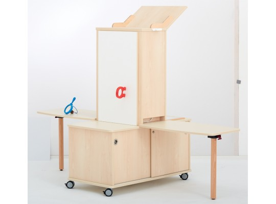 Laboratoř experimentální-pro děti-nízká-2 stoly-dekor bříza