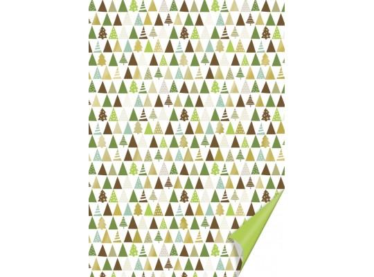 Fotokarton-300g/m2-stromky vánoční-hnědé/zelené/zlaté-50x70cm