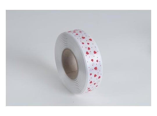 Stuha atlasová-24mmx20m-potisk srdce-bílá/červené