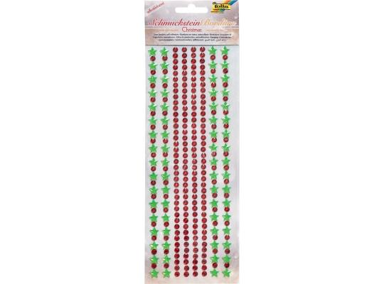 Kamínky akrylové samolepicí-Vánoce červené/zelené