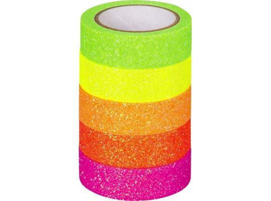 Páska papírová Washi Tape-neonová-glitrová
