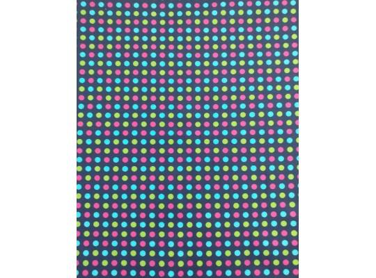 Látka-bavlna-150x100cm-potisk-puntík barevný-modrá tmavá