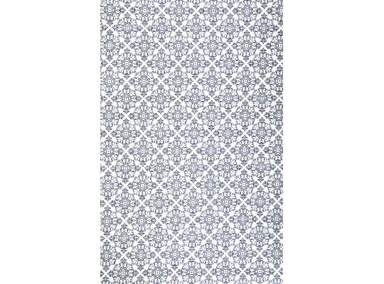 Látka dekorační-bavlna-150x100cm-potisk-ornament-bílá/modrá tmavá