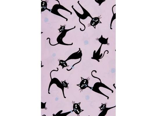 Látka dekorační-bavlna-š.150x100cm-potisk-kočka-černá/růžová