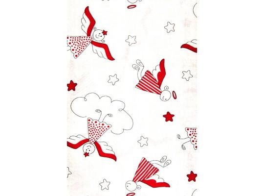 Látka-bavlna-potisk-anděl-červená/přírodní