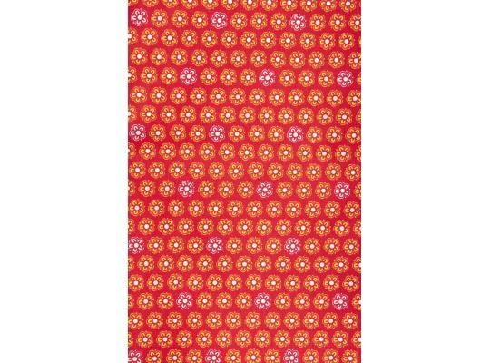 Látka-bavlna-potisk-kytička-bílá/žlutá-červená