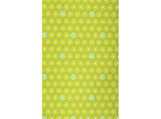 Látka-bavlna-potisk-kytička-bílá/žlutá-zelená