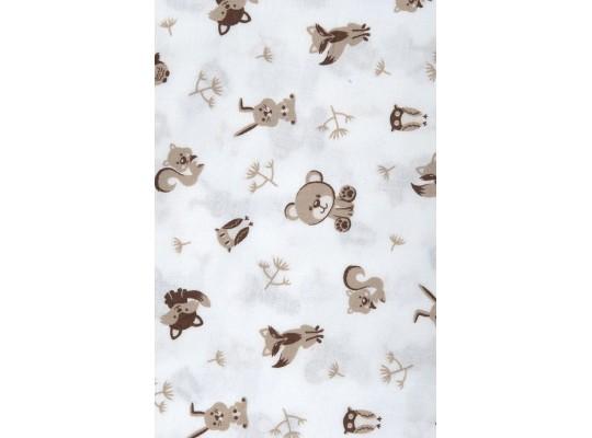 Látka dekorační-bavlna-150x100cm-potisk-zvířátko-hnědá světlá/bílá