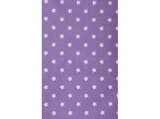 Látka-bavlna-potisk-hvězda-bílá/fialová
