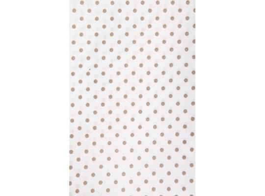 Látka-bavlna-potisk-puntík-hnědá světlá/bílá