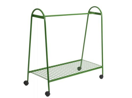 Věšák drátěný-pojízdný-zelený