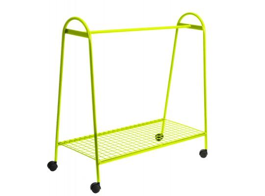 Věšák drátěný-pojízdný-žlutý